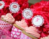 Printable Cupcake Wrappers - Kiss Me Valentine Design - DIY Printables by The Paper Cupcake