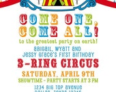 Printable Invitation Design - 3 Ring Circus Themed Collection - DIY Printables by The Paper Cupcake
