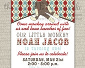 Printable Invitation Design - Classic Sock Monkey Collection - DIY Printables by The Paper Cupcake