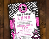 Printable Invitation Design - Girls Rock / Let's Rock Girly Glam Rock N' Roll Collection - DIY Printables by The Paper Cupcake