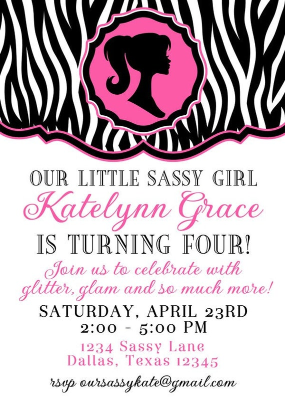 Printable Invitation Design - Oh-So Sassy Girl Collection - Barbie Inspired - DIY Printables by The Paper Cupcake
