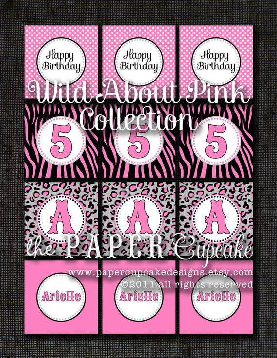 Printable Party Toppers - Wild About Pink Collection - DIY Printables from The Paper Cupcake