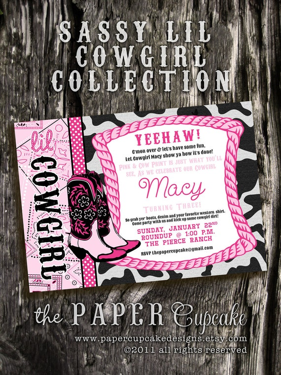 Printable Invitation Design - Sassy Lil' Cowgirl Collection - DIY Printables by The Paper Cupcake