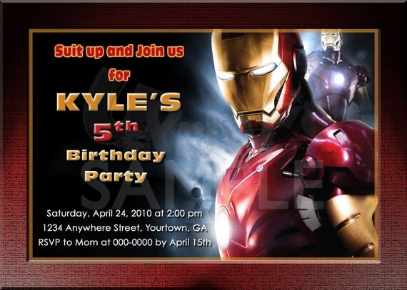 iron man personalized birthday invitations by