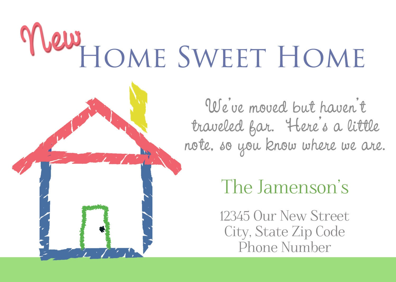 Moved New Home Address Cards You Print Diy By