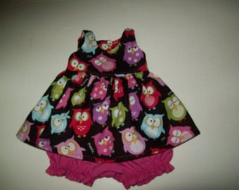 """Baby Alive  And Waldorf Doll Clothes Retro Owl  Dress 10"""" 12"""" Or 15"""""""