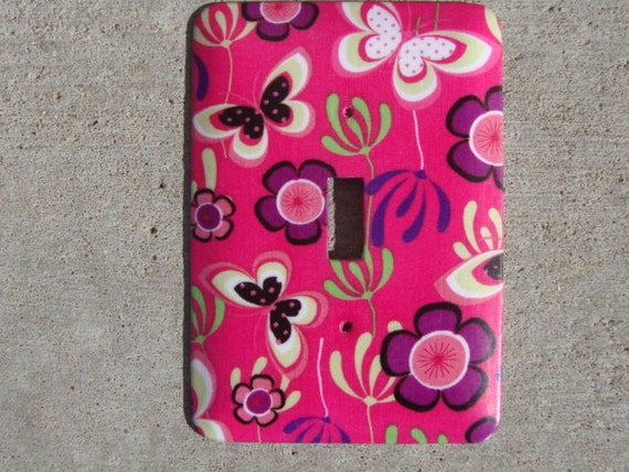 Pink and Purple Floral Butterfly Light Switch Plate Cover