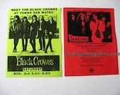 2 BLACK CROWES Orig. Promo Handbills  Tower Records Early Rock and Roll
