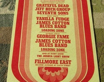 1968 Grateful Dead Fillmore East Handbill Vanila Fudge Sixties Original Concert Handbill