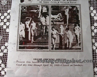 VINTAGE PRINTING PLATE  NUDE AD WOMEN FOR SALE WESTERN AMERICANA PROSTITUTION