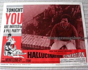 Psychedelic Sixties Movie Lobby Card HALLUCINATION GENERATION LSD Acid
