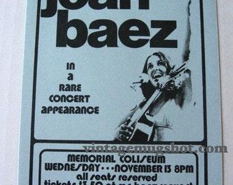 JOAN BAEZ Concert Handbill 1974 Memorial Coliseum Exc