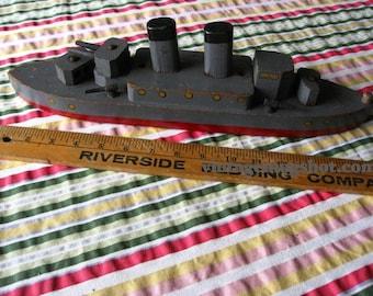 Vintage  WWll Era Ship Washington 20 inches Wood Toy Destroyer Folk art