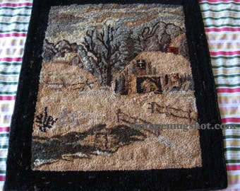 "Arts and Crafts Period  WEAVING  20"" X 23"" Houses and Barn Country Road"