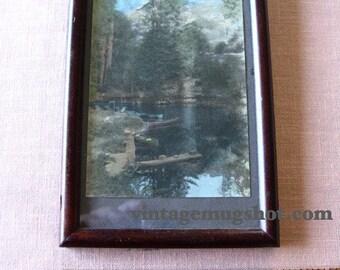 "CANOE hand Tinted Photo Postcard Framed  3 1/2"" x 5 1/2"" Mountains lake"