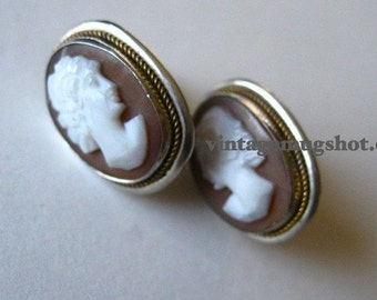 """Vintage Cameo Earrings Sterling  stamped exc cond.  screw back Gorgeous 5/8"""""""