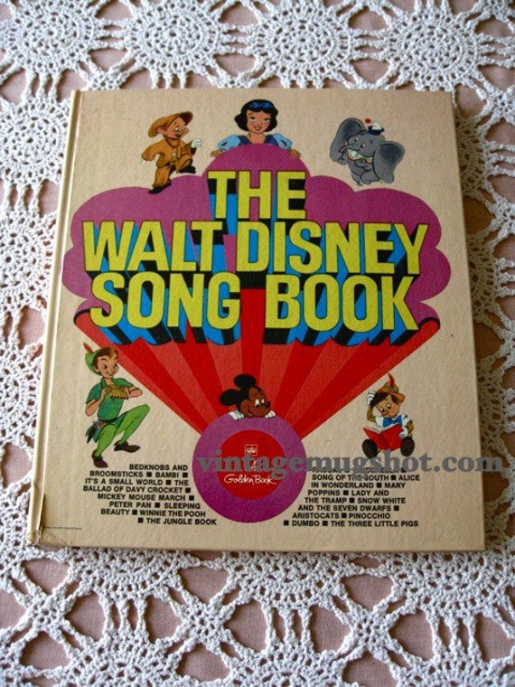 Walt Disney Song Book Large Book Music and Illustrations Exc Vintage Golden Book