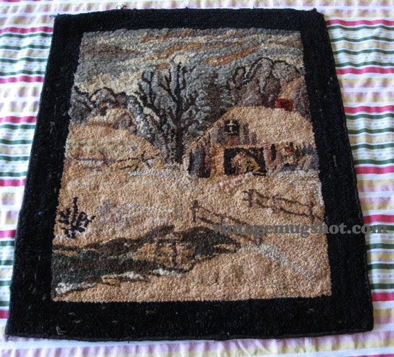 """Arts and Crafts Period  WEAVING  20"""" X 23"""" Houses and Barn Country Road"""