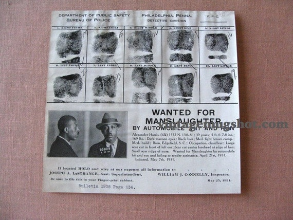 1931 Philadelphia  Police Department Criminal Original Wanted poster Manslaughter by Auto Chauffeur