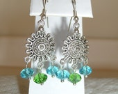 Silver Chandelier Earrings with Aqua and Green Crystals