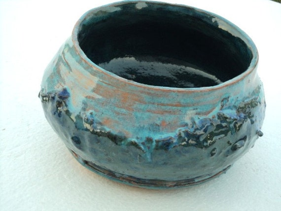Wide Mouthed Blue Jar with Textured Exterior