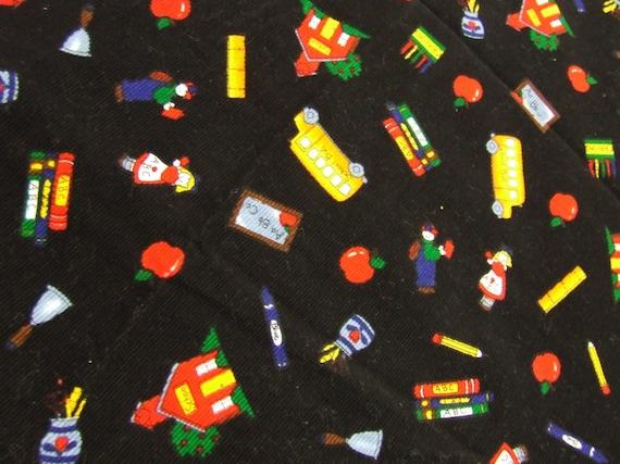 TeAcHErS  SmaLL  WaLe Cord  Fabric piece   Buses /// Schoolhouse