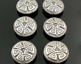 CELTIC KNOT pewter buttons - lot of 6 - Antiqued Silver or Gold