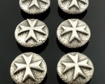 MALTESE CROSS pewter buttons - lot of 6 - Antiqued Silver or Gold