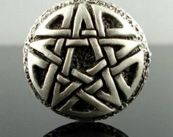 CELTIC PENTAGRAM pewter button - Antiqued Silver or Gold