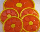 Orange Yellow Resin Coaster Set