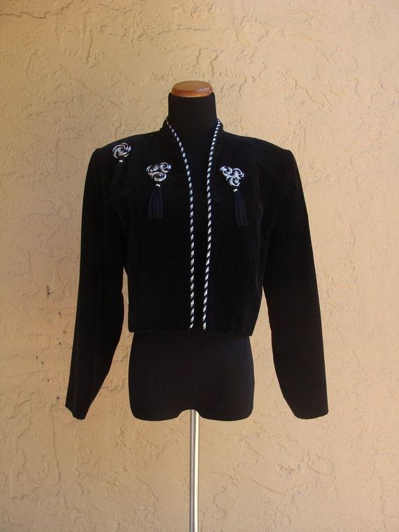 Vintage Velvet Eighties Cropped Jacket with Tasseled Pins, BeastlyLettuce Vintage
