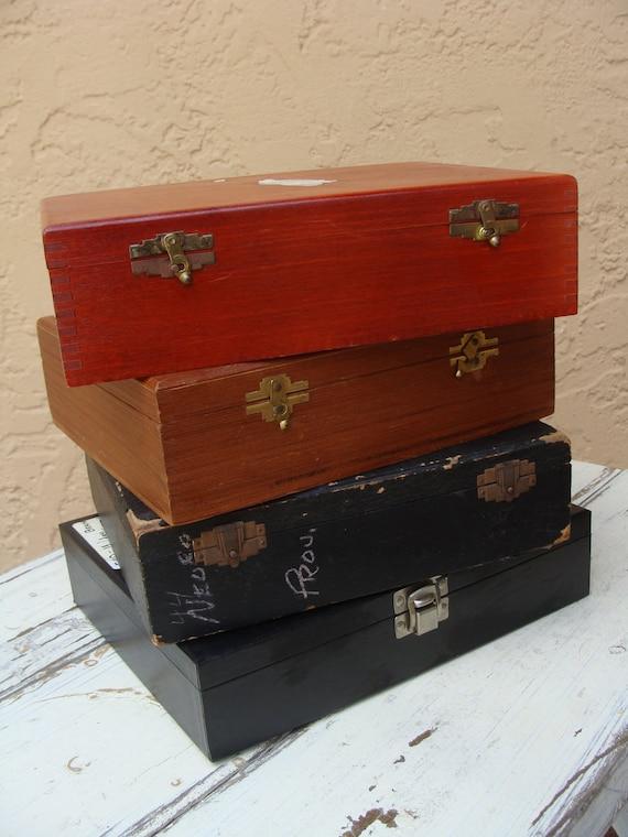 Vintage Lot of Four Medical Slide Storage Boxes, BeastlyLettuce Vintage