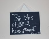 SALE: Hand painted navy  blue sign / Bible verse / new baby gift / ready to ship