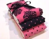 Baby Burp Cloth Set Premium 6 Ply Baby Girl  - Black and Pink Damask