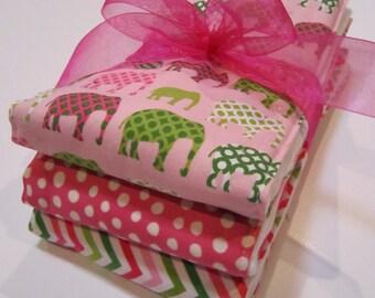 Diaper  Burp Cloth Set of 3 Baby Girl  - Pink Elephants