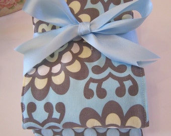 Diaper Burp Cloth Set of 2 Baby Girl - Amy Butler Lotus Blue Sky Wallflower