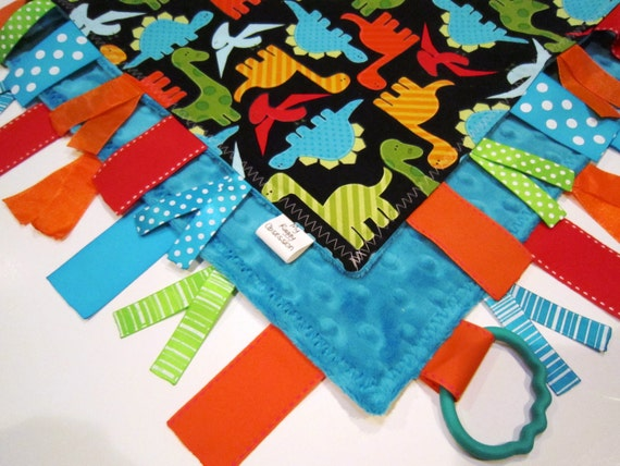Ribbon Sensory Baby Boy Blanket  Lovey - Urban Zoologie Part 2  Dinos on Black and Minky