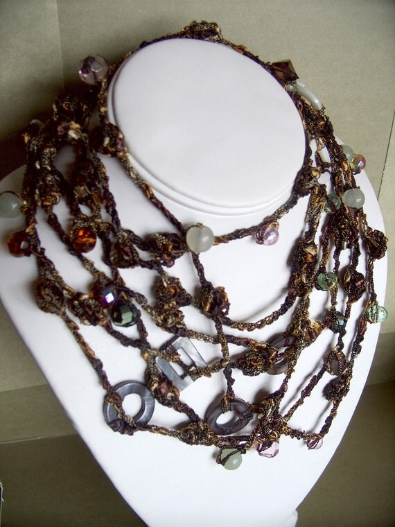 Long Strand Beaded Statement Gold Moss Italian Yarn Necklace with Jade, Mother of Pearl, and Fire Polished Crystals