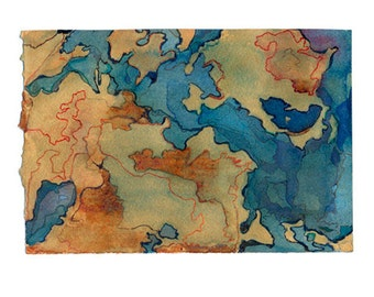 Fantasy map art, small watercolor print, blue gold abstract landscape, Atlantis 1
