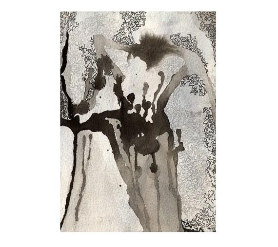 Black and white abstract art, minimalist ink drawing print, Agartha