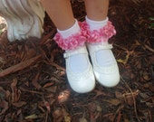 Bubble Gum Pink Sheer & Satin Ruffled Ribbon Socks