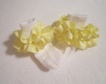 Yellow Grosgrain Ruffled Ribbon Socks