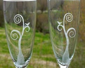 Etched Champagne Flutes - Love Birds in a Tree - Set of Two - RESERVED FOR ROBIN