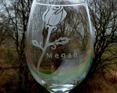 Etched Wine Glasses - Personalized Rose - Set of Two