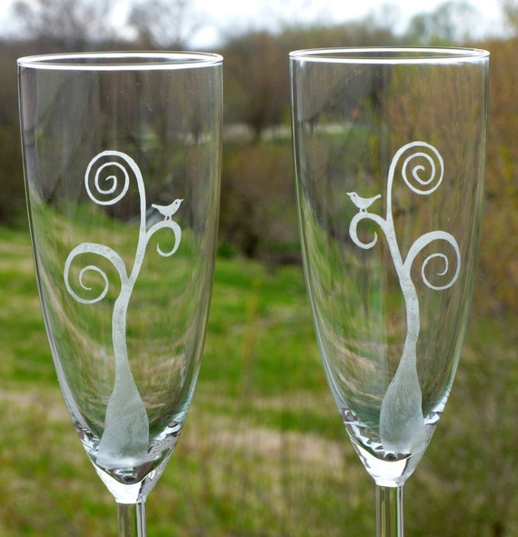 Etched Champagne Flutes - Love Birds in a Tree - Set of Two