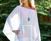 SALE - Short Draped Sheer Coverup with Long Sleeves and Belt, Cover Up