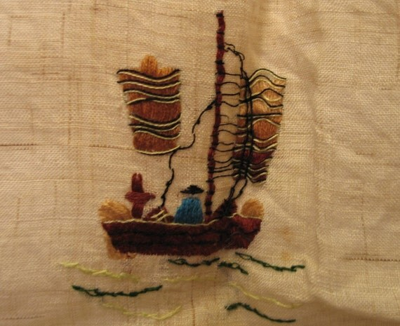 Vintage 1930's Chinese Hand Embroidered Linen Square Small Topper Tablecloth
