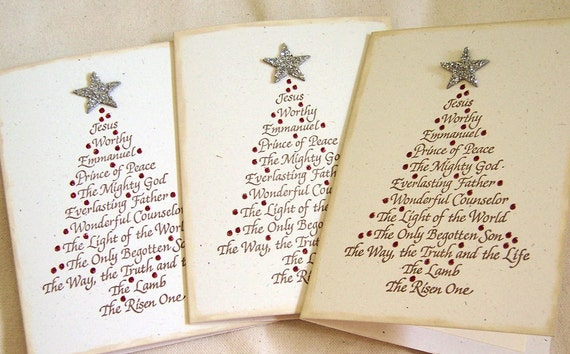 Set of 3 His Name Christmas Tree Greeting Cards