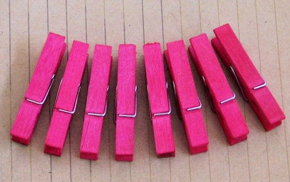 HOT PINK Hand Dyed Small Clothespins Set of 8
