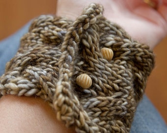 PDF KNITTING PATTERN file for knit cabled bracelet or cuff